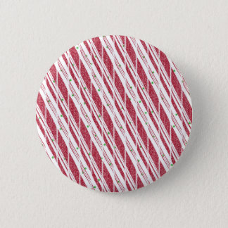 Frosty Red Candy Cane Pattern 6 Cm Round Badge