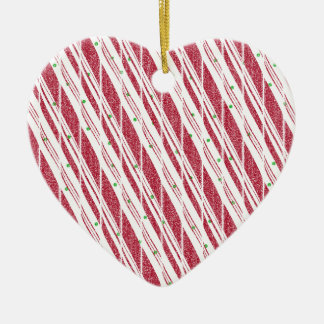 Frosty Red Candy Cane Pattern Ceramic Heart Decoration