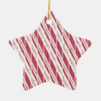 Frosty Red Candy Cane Pattern Ceramic Star Decoration