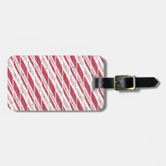 Frosty Red Candy Cane Pattern Luggage Tag