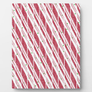 Frosty Red Candy Cane Pattern Plaque