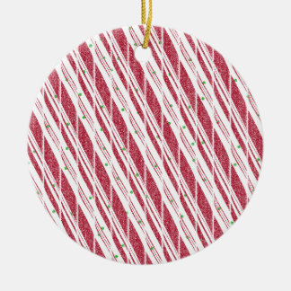 Frosty Red Candy Cane Pattern Round Ceramic Decoration