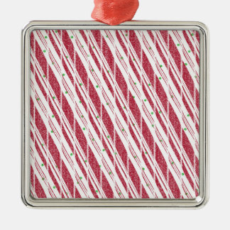 Frosty Red Candy Cane Pattern Silver-Colored Square Decoration