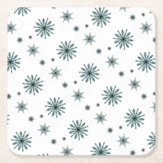 Frosty snowflake stars square paper coaster
