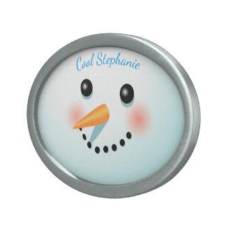 Frosty Snowman Cartoon Belt Buckle
