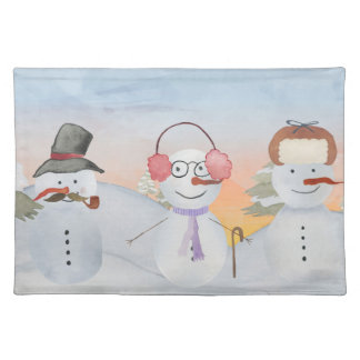 Frosty Snowman & Friends Winter Snow Scene Placemat