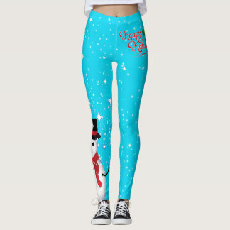 Frosty Snowman Happy Holidays Starry on (Your Col) Leggings
