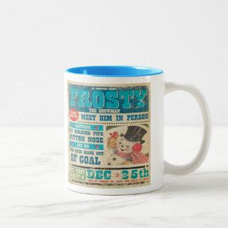 Frosty Snowman Vintage Two Tone Coffee Mug