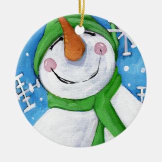 Frosty the happy snowman ceramic ornament