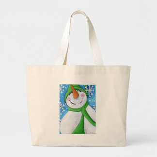 Frosty the happy snowman large tote bag