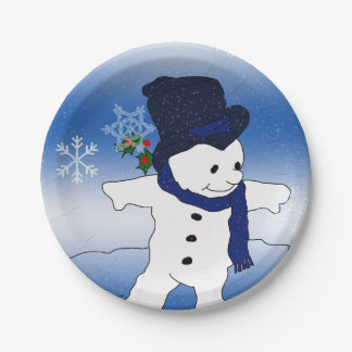Frosty the Snowman Skating Paper Plate