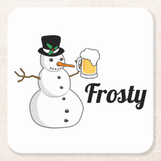Frosty The Snowman Square Paper Coaster