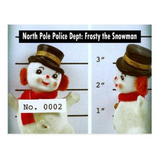 Frosty the Snowman's Mug Shot Postcard
