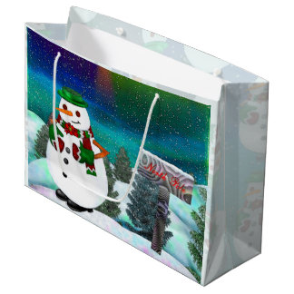 Frosty Town Christmas WIDE ONLY Large Gift Bag