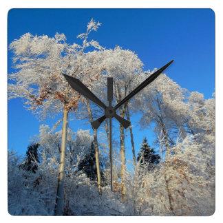 Frosty White Trees Clock