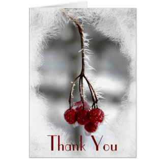 Frosty Winter Red Berries Thank You Note Greeting Card
