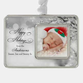 Frosty Winter Snow Personalized Photo Silver Plated Framed Ornament