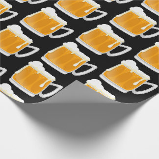 Frothy beer mug pattern wrapping paper