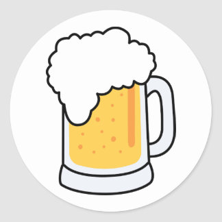 Frothy Cartoon Glass Beer Mug with Beer Classic Round Sticker