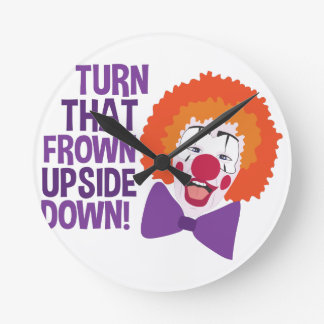 Frown Updide Down Round Clock
