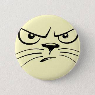 Frowning Cat Face 6 Cm Round Badge
