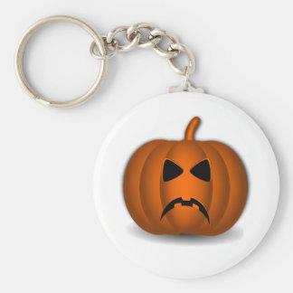 Frowning Jack-o-lantern 01 Basic Round Button Key Ring