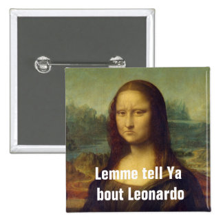 Frowning Mona Lisa Pinback Buttons