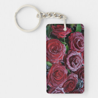 Frozen Dark Red Roses On A Grave Key Chains
