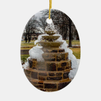 Frozen Fountain Ceramic Oval Decoration