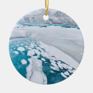 Frozen glacier ice, Iceland Ceramic Ornament