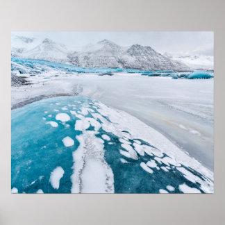 Frozen glacier ice, Iceland Poster