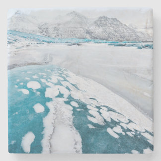 Frozen glacier ice, Iceland Stone Coaster