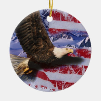 Frozen Glory, Eagle & American Flag Ceramic Ornament