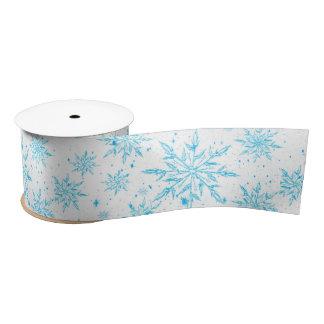Frozen ice crystal snowflake ribbon satin ribbon