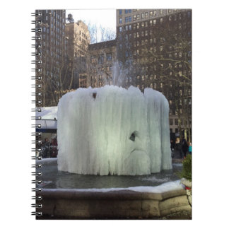 Frozen Ice Fountain Bryant Park New York City NYC Spiral Notebook