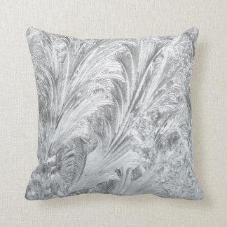 Frozen Ice Rim Crystal Ferns Cascade Winter Throw Pillow