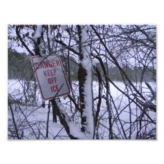 Frozen Ice Warning Photo Print