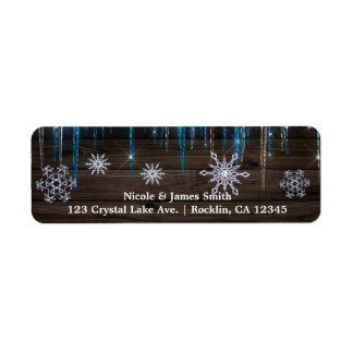 Frozen Icicles Winter Wonderland Wood Snowflakes Return Address Label