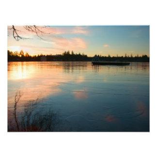 Frozen Lake at Sunset Photo Art