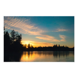 Frozen Lake at Sunset Photo Print