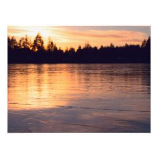 Frozen Lake at Sunset Photograph