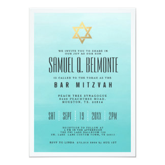 Frozen Lake Ombre | Gold Star | Bar Mitzvah Card