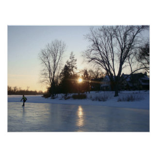 Frozen Lake Sunset Poster