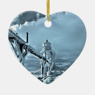 Frozen Lighthouse In Winter Ceramic Ornament