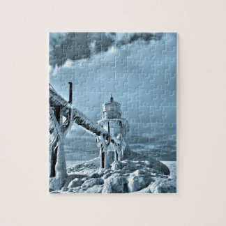 Frozen Lighthouse In Winter Jigsaw Puzzle