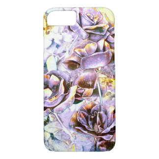 Frozen purple rose flowers in winter iPhone 7 case