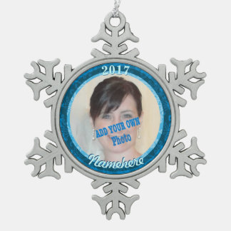 Frozen Snowflake Picture Ornament! Add Name & Year Snowflake Pewter Christmas Ornament
