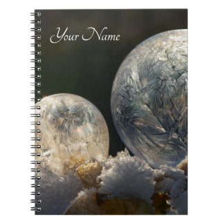 Frozen Soap Bubbles Ice Crystal Cool Winter - Name Notebook