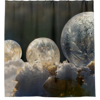 Frozen Soap Bubbles Ice Crystal Cool Winter - Tub Shower Curtain
