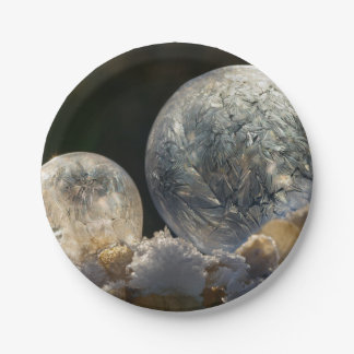 Frozen Soap Bubbles Ice Crystals Winter - Party 7 Inch Paper Plate